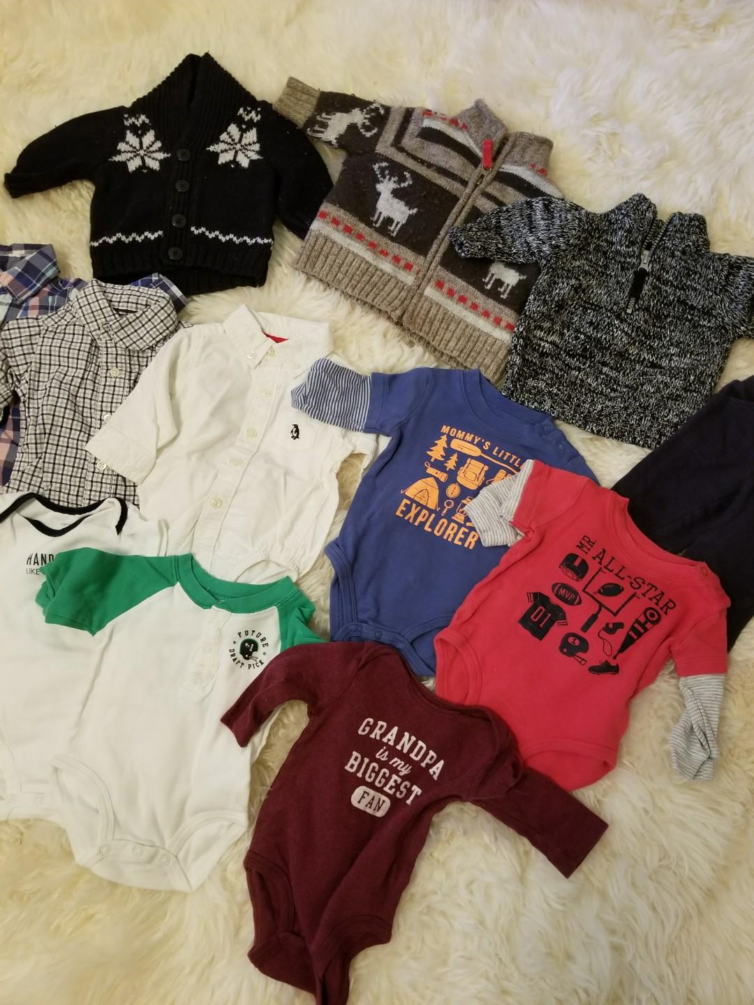 Baby Fall collection Handsome like Daddy clothing lot. Size 3 months. All Carters Oshkosh brand. Everything you need for fall. Take all 3 sweaters for $12 The remaining 9 items for $11. Or take all for $20. Message with