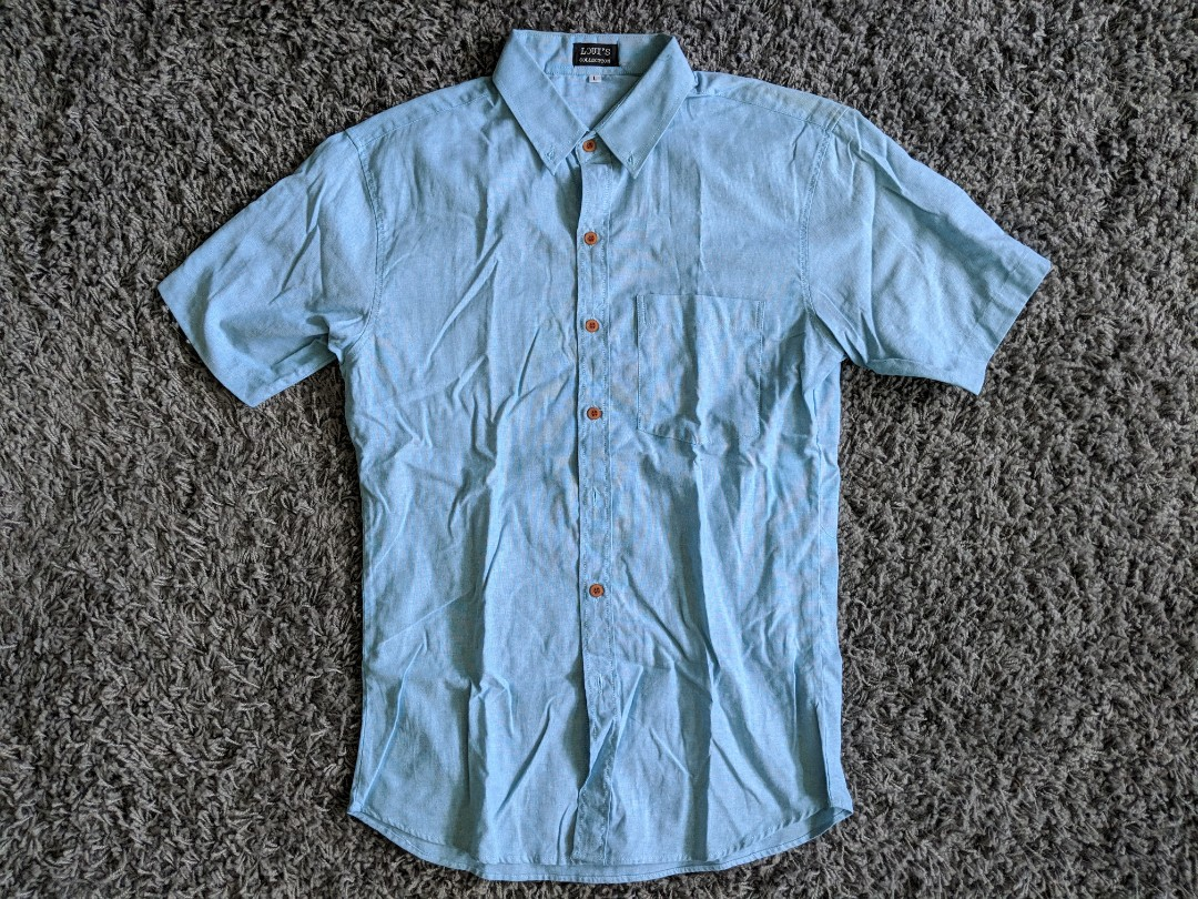 b6f7db0d8c24 (Price Reduced) Blue Short Sleeve Shirt, Men's Fashion, Clothes, Tops on  Carousell