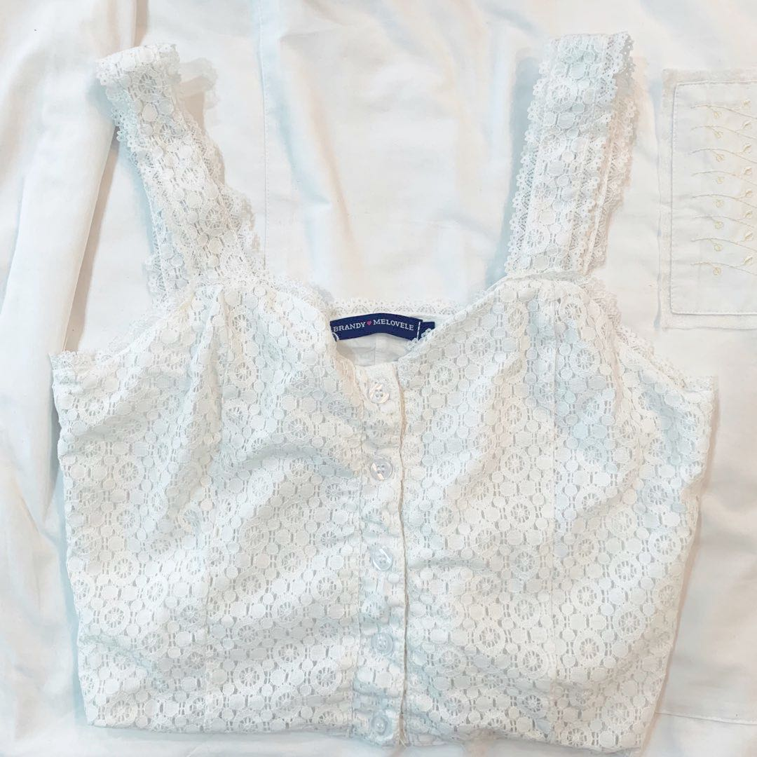 045254a72f4a07 BN white lace floral button up tank TOP