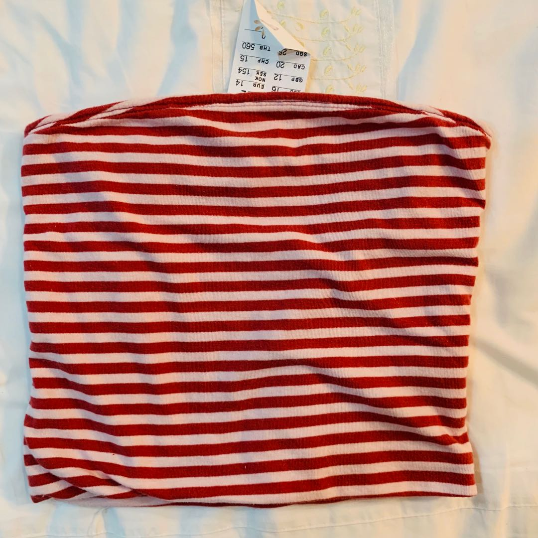07a9e6df42 Bnwt brandy Melville red and light pink striped Jenny Tube TOP ...