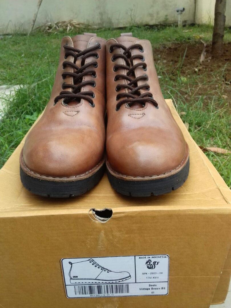 Brodo Signore Boots Vintage Brown Black Sole Size 41 1bd3f5d030