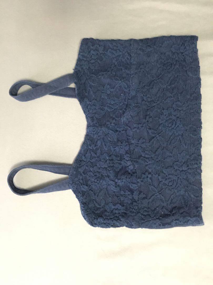 Dark blue lace cropped top from A&F