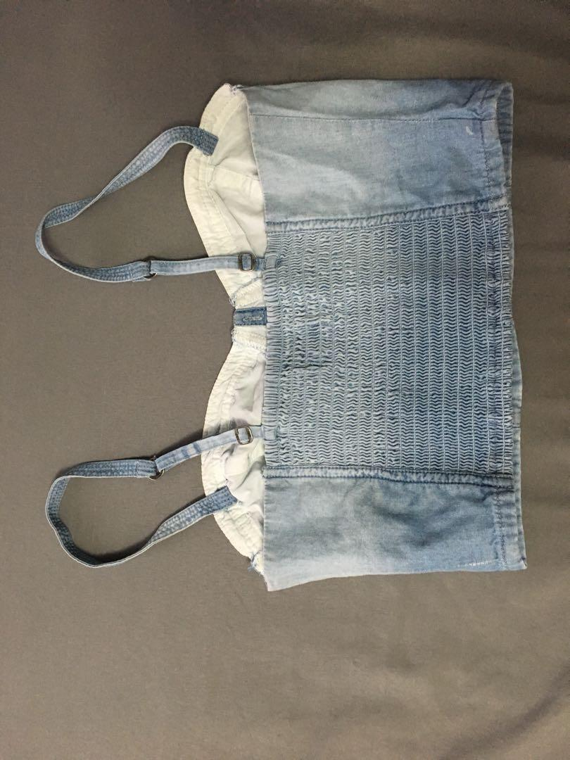 Denim bustier cropped top from A&F