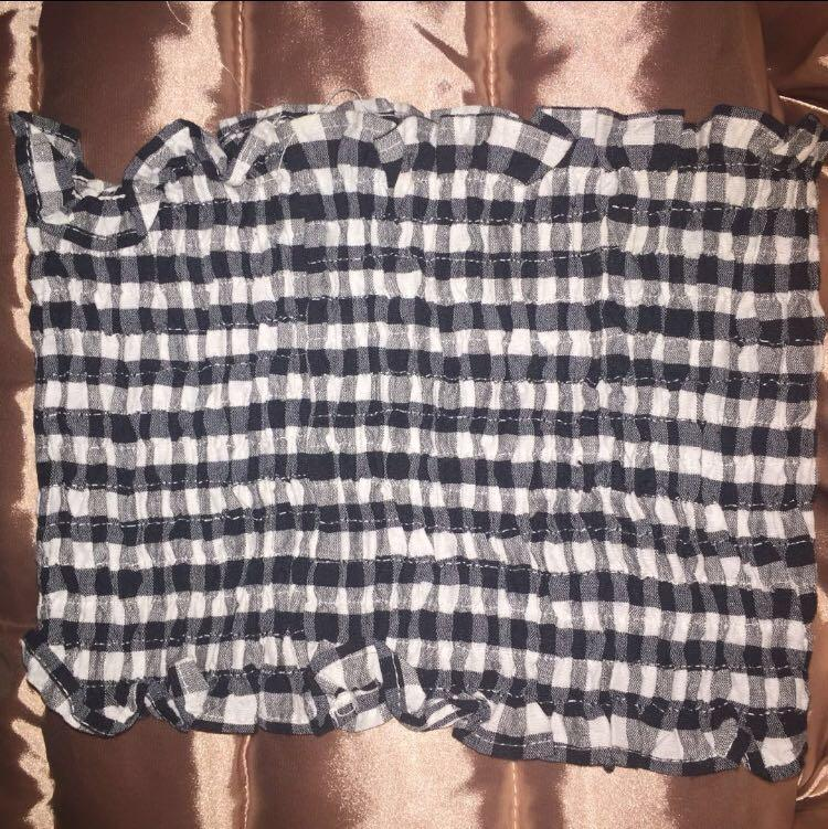Gingham ruched crop top