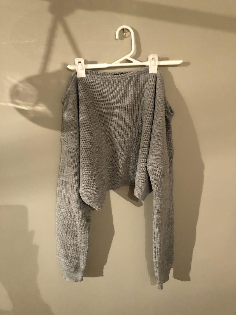 Grey shoulder sweater