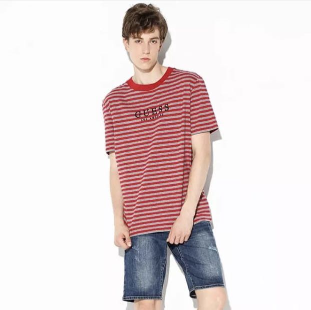 0b31e79380 Guess M81P83R4412 striped t-shirt with embroidered logo, Women's ...