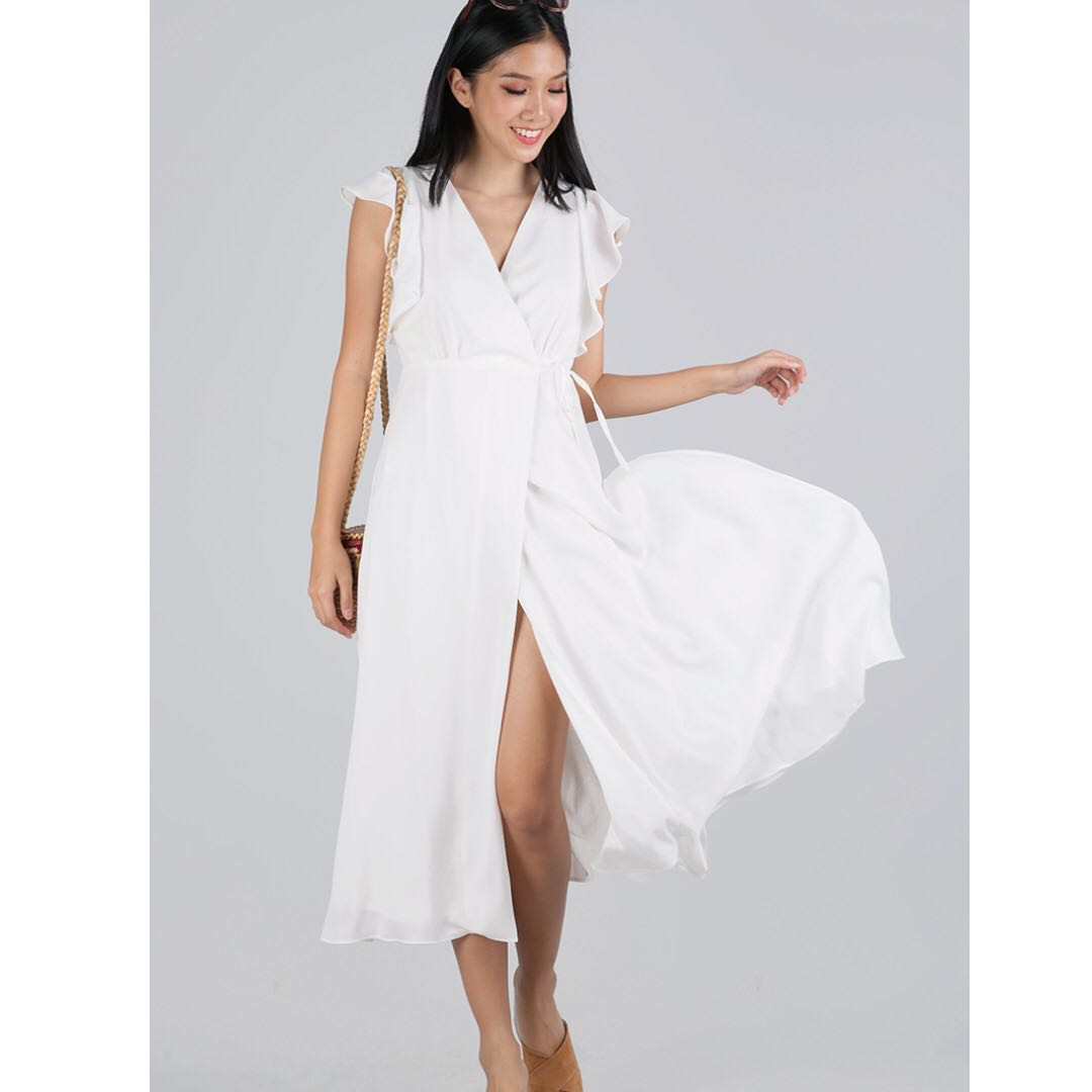 c133d596de JUDITH WRAP FRONT MAXI DRESS (WHITE), Women's Fashion, Clothes ...