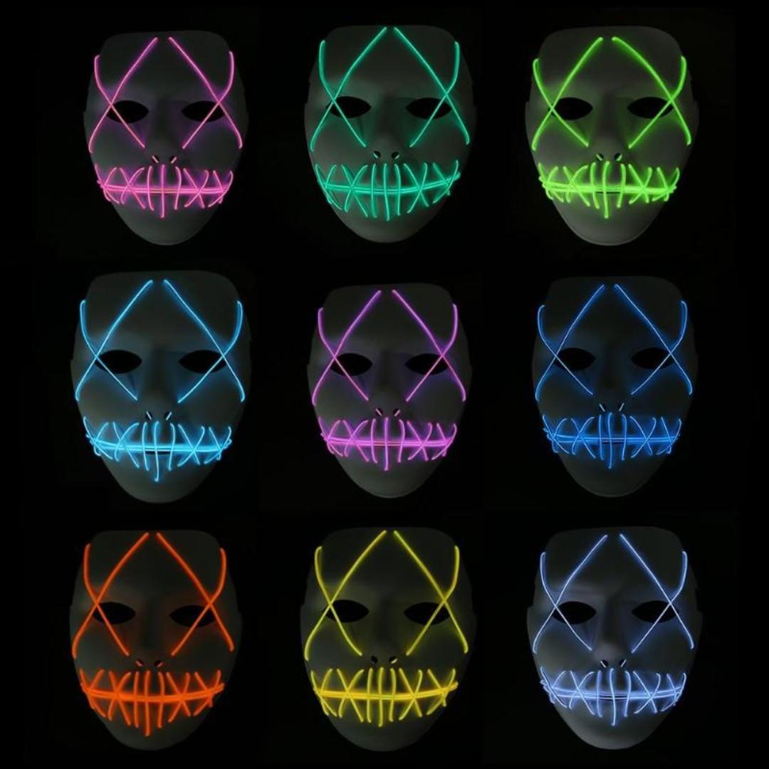 Led Flash Mask Cosplay Halloween Mask Party Cool Mask Plastic Costume Party Toys Games Others On Carousell