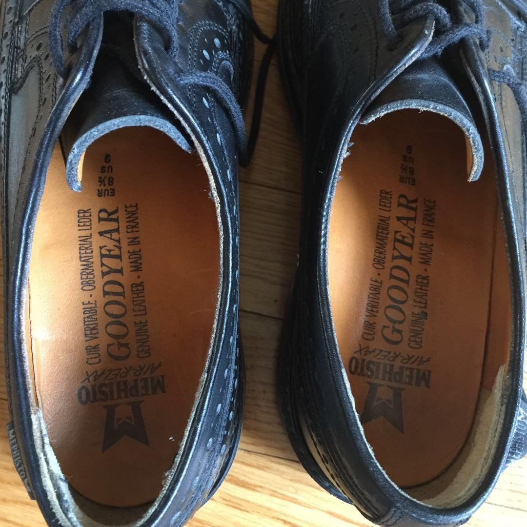 Mephisto Goodyear Air-Relax Black Leather Men's Dress Shoes (Size US9)