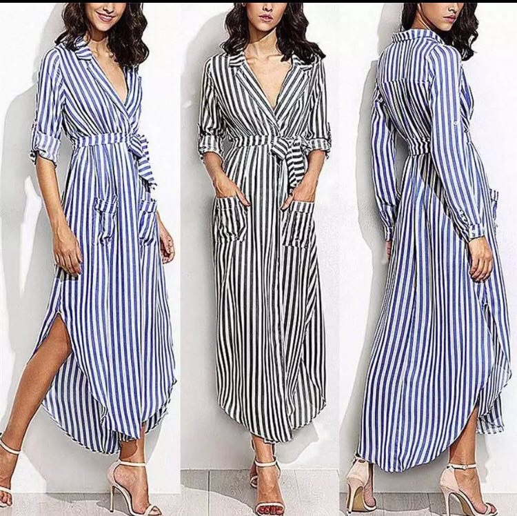 7d20856b803 PO) S-XL Striped Shirt Dress Women Casual Long Sleeve Office Ladies ...