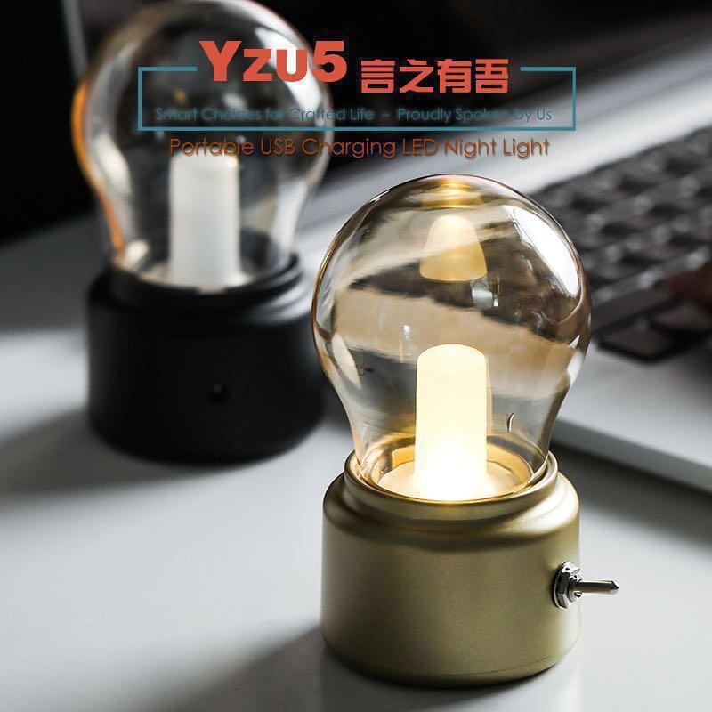 Portable LED USB Charging Edison Candle Night Light Bulb Vintage Black Gold Mini Nordic Industial