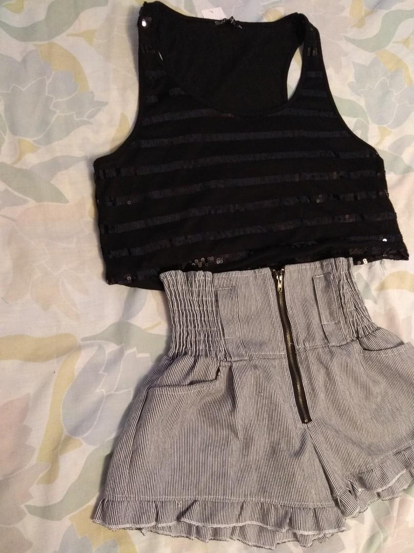 (SET) BNWT sequin top and shorts