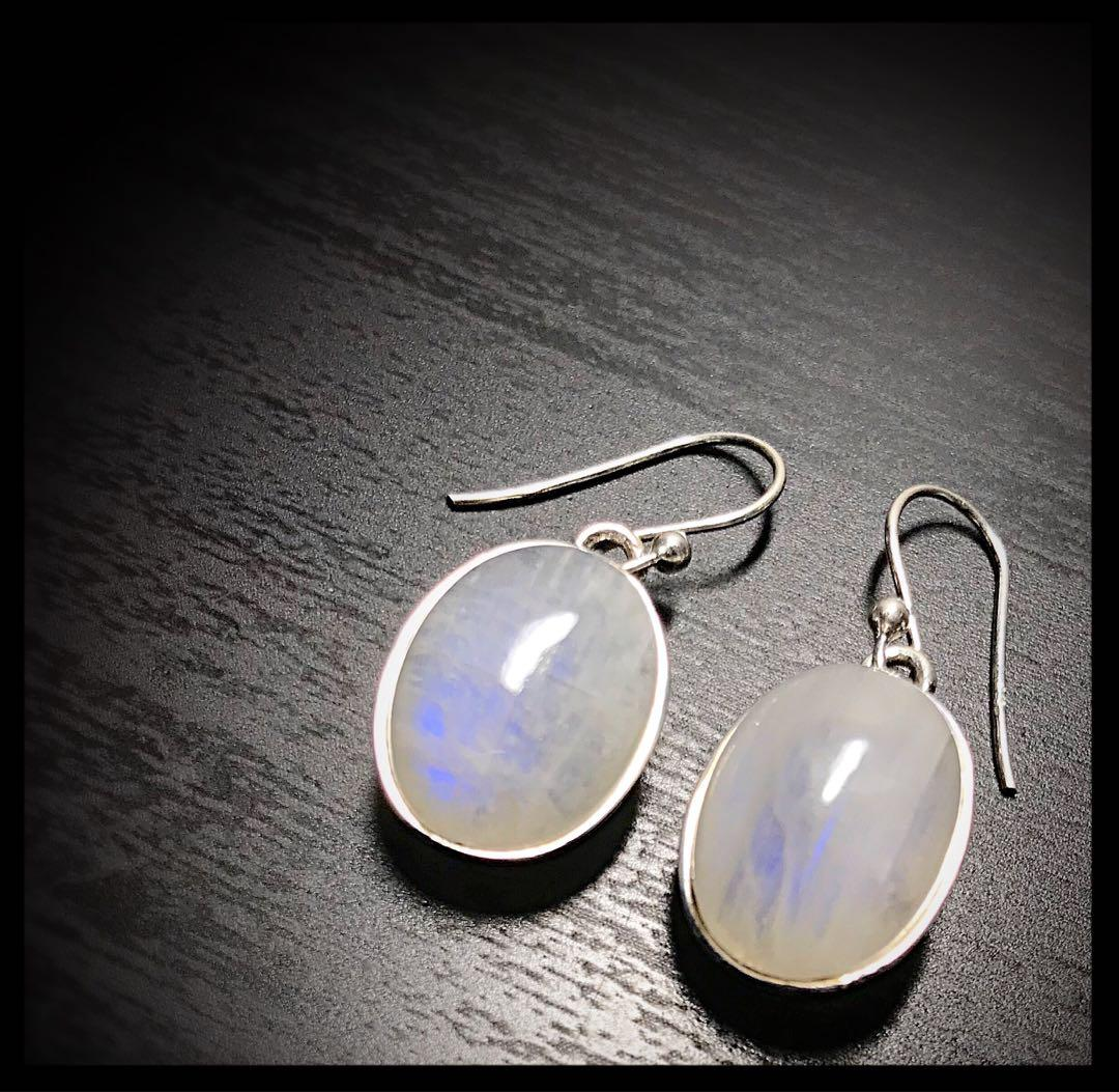 Stamped 925 Sterling silver and moonstones earrings