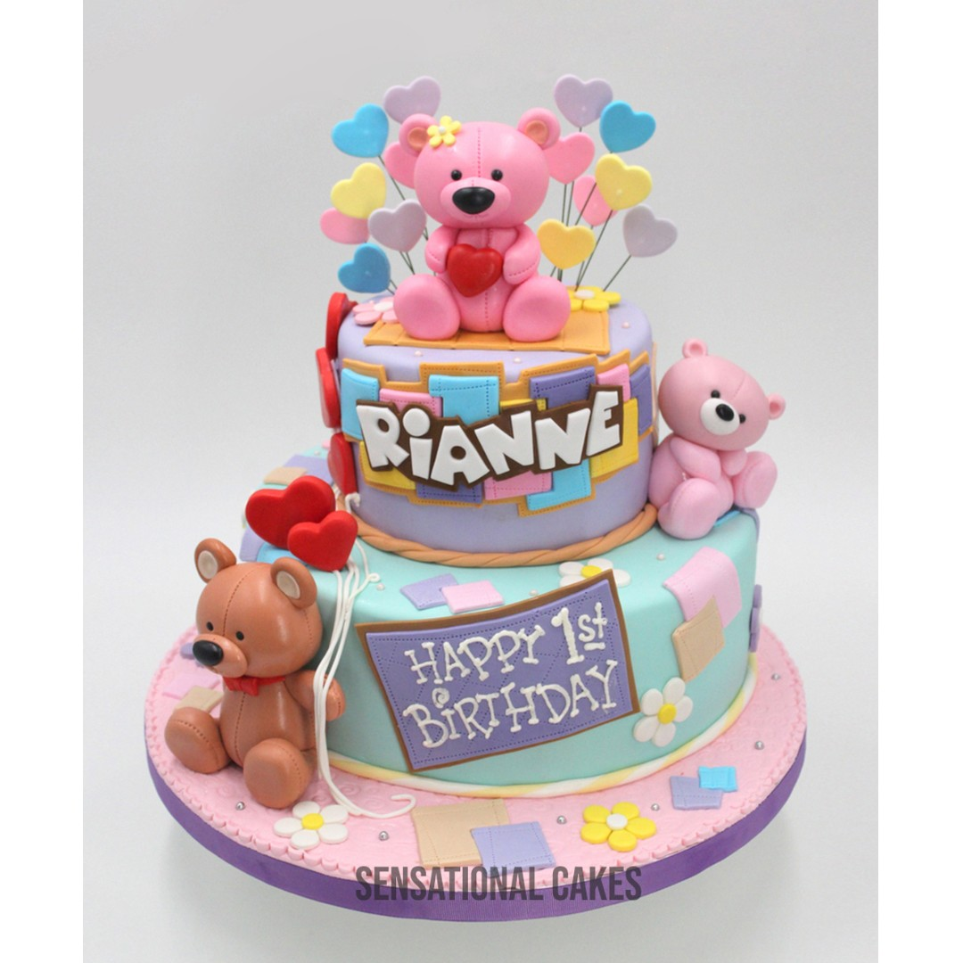 Teddy Bear Pastel Color 2 Layer Baby Girl Theme Cake Singaporecake