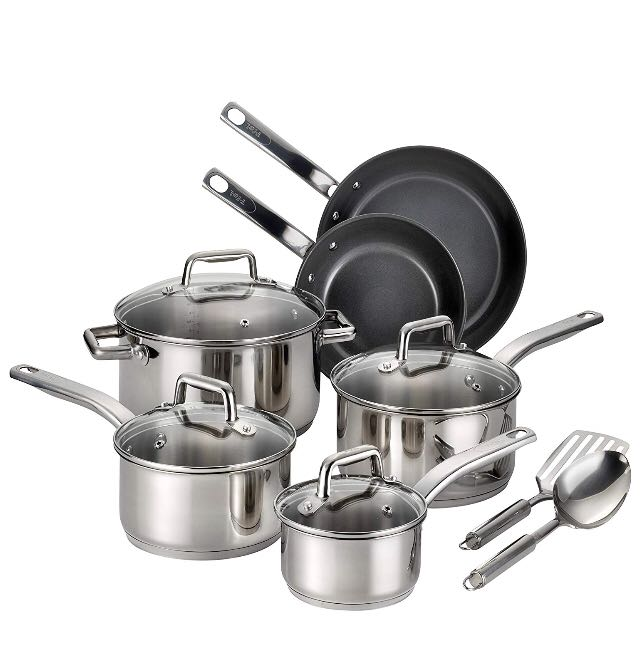 💥Free Delivery💥T-fal Precision Stainless Steel Ceramic Nonstick  PTFE-PFOA-Cadmium Free Dishwasher Safe Oven Safe Cookware Set, 12-Piece,  Silver