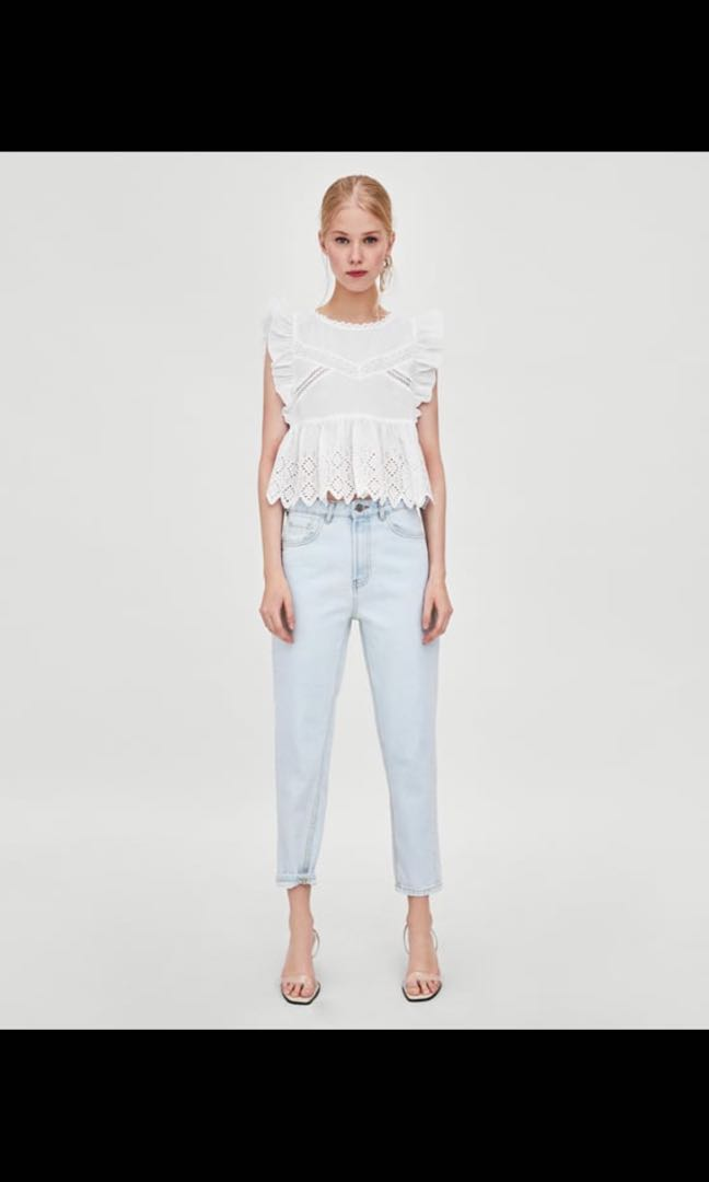 d5ec939c785c36 Zara Embroidered White Crop Top, Women's Fashion, Clothes, Tops on ...