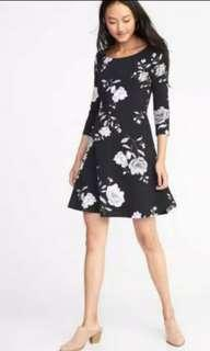 Old navy swing flare black flower dress