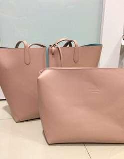 Vincci big tote handbag and pouch