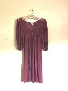 Forever 21 Cute Burgundy Crochet Bubble Sleeve Dress