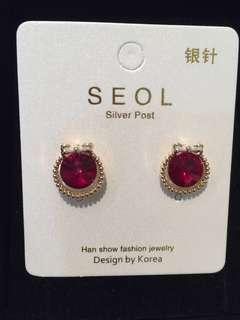 013 Red Jewel with Ribbon Earrings