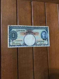 1941 $1 Malaya King George Currency Note