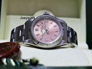 Ladies ROLEX Oyster Perpetual with Beautiful PINK 3 6 9 Dial 67230 No pinhole !