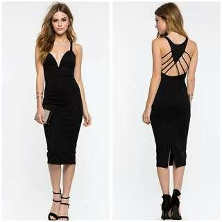 🚚 全新 深V露背修身後開叉包臀洋裝 size:XL
