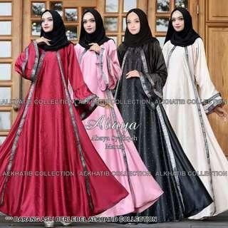 Pre order Alkhatib collection Satin Silk Abaya long sleeve Muslimah cream pink red black