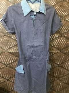 Terusan / gaun / rok warna denim blue jeans