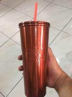 STARBUCKS RED SILVER 16oz COLD CUP