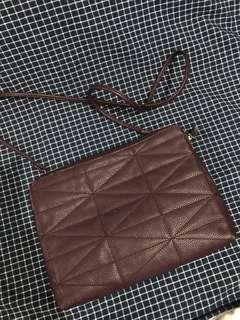 F21 Burgundy Zipper Sling Bag