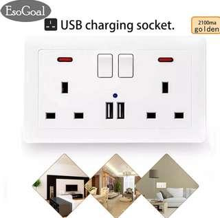USB Wall Socket Charger Double Wall Switched Power Plug Socket with 2 USB Charger Ports