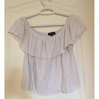 US 8 Top Shop Off The Shoulder White Shirt