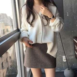 Oatmeal/white knitwear catdigan hoodie