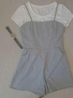 Cute gingham playsuit and white tee set