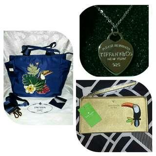 AUTHENTIC QUALITY PRADA BIRD NYLON TOTE, POUCH AND NECKLACE BUNDLE