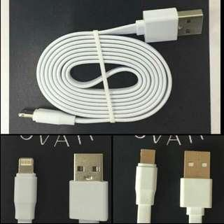 DS Innovations 2 In 1 Universal Reversible Flat Charging Cable can use For Both Apple & Andriod.