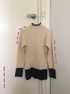 Korean Style Nude/Beige & Navy Turtleneck Sweater