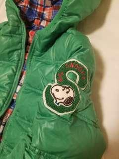 雙面2用綠色格仔Snoopy 正版輕薄 羽絨褸