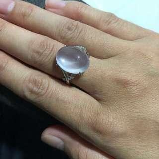 🚚 Genuine Natural Rose Quartz high quality ring with Silver 925