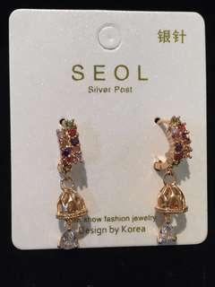 017 24k Pretty Colored Jewels with Bell Earrings