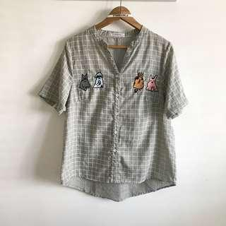 Free size fits M~L Korean Style light grey Grid  with carton embroidery Cotton Shirt Blouse Top @sunwalker