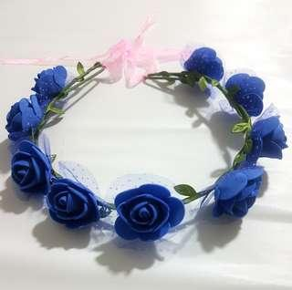 Blue Floral Crown / Flower Headdress / Hair Accessory for Ladies or Girls 2 Pcs.