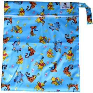 Multipurpose Large Single Zip with snap button Wetbag - Winnie the Pooh