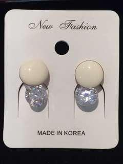 024 White Button with Diamond Earrings