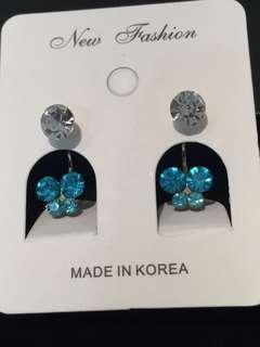 025 Blue Butterfly Front Back Earrings