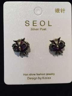 026 Vintage Owl with Purple Jewel Earrings