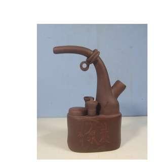 Vintage Yixinig Zisha purple clay water smoking pipe retired signed circa 1950s