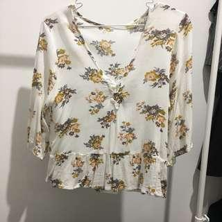 V-neck flower white blouse