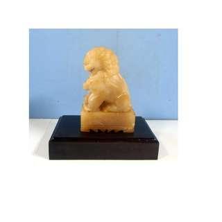 Vintage hand carved wax stone foo dog on pedestal circa 1950s unused old stock